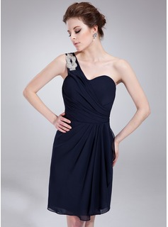 A-Line/Princess One-Shoulder Knee-Length Chiffon Homecoming Dress With Ruffle Beading