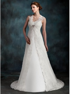 A-Line/Princess Scoop Neck Court Train Tulle Wedding Dress With Ruffle