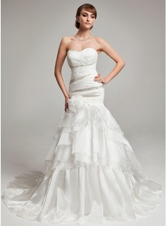 Trumpet/Mermaid Sweetheart Court Train Organza Wedding Dress With Beading Cascading Ruffles