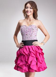 A-Line/Princess Sweetheart Short/Mini Taffeta Homecoming Dress With Sash Beading Sequins Cascading Ruffles