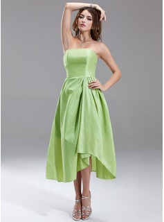 A-Line/Princess Strapless Asymmetrical Taffeta Bridesmaid Dress With Ruffle