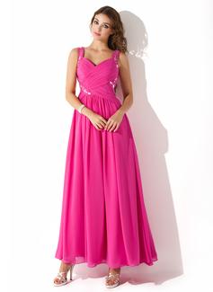 A-Line/Princess Sweetheart Ankle-Length Chiffon Prom Dress With Ruffle Beading