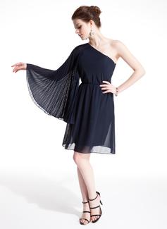 Corte A/Princesa Un sólo hombro Altura de la rodilla Chifón Baile de promoción con Plisado