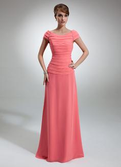 Vestidos princesa/ Formato A Sem o ombro Longos De chiffon Vestido para a mãe da noiva com Pregueado Bordado