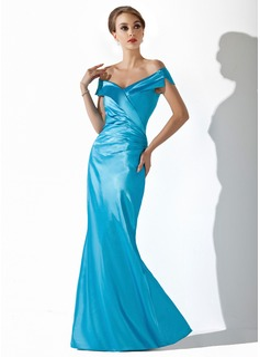 Syrena Off-the-ramię Do Podłogi Charmeuse Suknia dla Mamy Panny Młodej Z Żabot