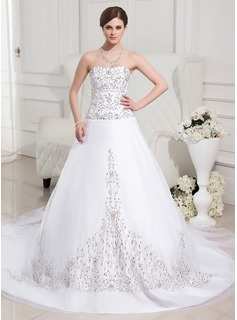 Ball-Gown Sweetheart Cathedral Train Organza Satin Wedding Dress With Embroidered Beading Sequins