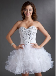 A-Line/Princess Sweetheart Short/Mini Organza Satin Homecoming Dress With Beading Cascading Ruffles