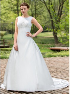 Ball-Gown Scoop Neck Chapel Train Satin Wedding Dress With Beading Sequins