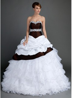 Ball-Gown Sweetheart Sweep Train Taffeta Organza Wedding Dress With Lace Beading Cascading Ruffles