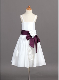 A-Line/Princess Tea-length Flower Girl Dress - Taffeta Sleeveless Straps With Sash/Flower(s)