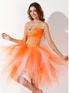 A-Line/Princess Sweetheart Knee-Length Satin Tulle Homecoming Dress With Beading Cascading Ruffles