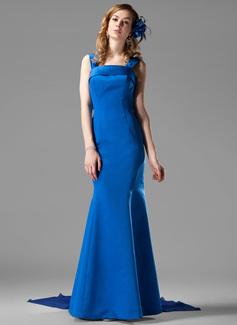 Trumpet/Mermaid Square Neckline Watteau Train Chiffon Satin Bridesmaid Dress With Bow(s)