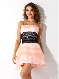 A-Line/Princess Sweetheart Short/Mini Tulle Homecoming Dress With Ruffle Lace Sash Beading