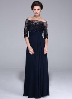 Vestidos princesa/ Formato A Sem o ombro Chá comprimento chiffon Tulle Vestido para a mãe da noiva com laço Beading Sequins (017025450)