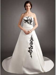 Ball-Gown Strapless Court Train Satin Wedding Dress With Ruffle Lace Beadwork Sequins