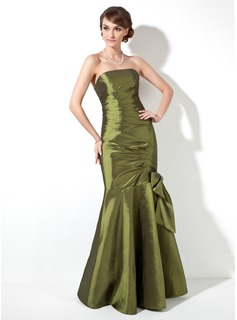 Trumpet/Mermaid Strapless Floor-Length Taffeta Bridesmaid Dress With Ruffle Beading Bow(s)