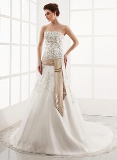 Трапеция/Принцесса Без лямок Собор поезд Органза Свадебные Платье с Вышито кружева Лента