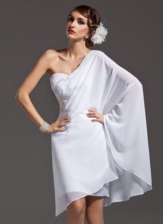 Etui-Linie One-Shoulder-Träger Asymmetrisch Chiffon Festliche Kleid mit Perlen verziert