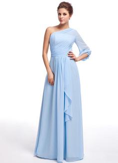 A-Line/Princess One-Shoulder Floor-Length Chiffon Bridesmaid Dress With Crystal Brooch Cascading Ruffles