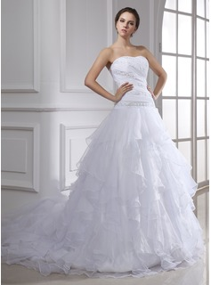 Ball-Gown Sweetheart Court Train Organza Wedding Dress With Lace Beading Cascading Ruffles