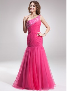 Trumpet/Mermaid One-Shoulder Floor-Length Satin Tulle Prom Dress With Ruffle Beading
