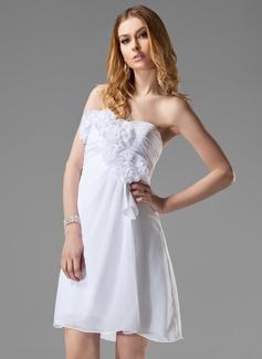 Empire Sweetheart Short/Mini Chiffon Bridesmaid Dress With Ruffle Flower(s)