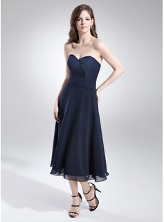 A-Line/Princess Sweetheart Tea-Length Chiffon Bridesmaid Dress With Beading