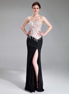Kılıf Kalp Kesimli Uzun Etekli Chiffon Charmeuse Gece Elbisesi