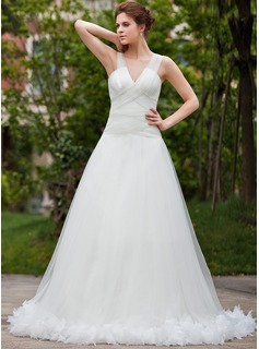 A-Line/Princess V-neck Chapel Train Tulle Wedding Dress With Ruffle Feather