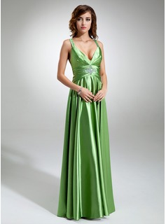 A-Line/Princess V-neck Floor-Length Charmeuse Prom Dress With Ruffle Beading (018002745)