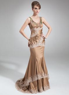 Trompete/Sereia Decote redondo Cauda de sereia Charmeuse Vestido para a mãe da noiva com Pregueado Bordado Apliques de Renda Lantejoulas