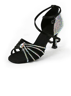 Women's Satin Heels Latin Ballroom Wedding Party With Rhinestone Ankle Strap Dance Shoes