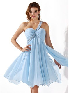 Empire One-Shoulder Knee-Length Chiffon Homecoming Dress With Ruffle Lace Beading