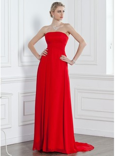A-Line/Princess Strapless Sweep Train Chiffon Bridesmaid Dress