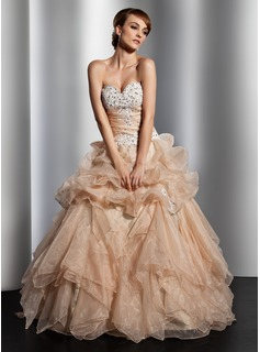 Ball-Gown Sweetheart Floor-Length Organza Wedding Dress With Ruffle Lace Beadwork Sequins