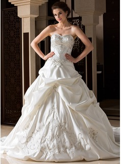 Ball-Gown Sweetheart Cathedral Train Satin Wedding Dress With Embroidery Ruffle Beadwork