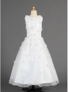 A-Line/Princess Floor-length Flower Girl Dress - Organza Sleeveless Scoop Neck With Lace/Flower(s)