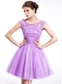 A-Line/Princess Off-the-Shoulder Knee-Length Tulle Charmeuse Homecoming Dress With Beading Sequins
