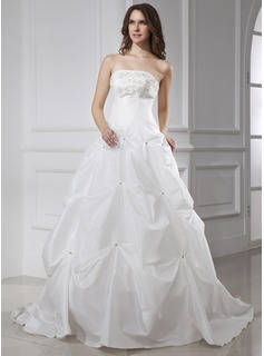 Ball-Gown Strapless Chapel Train Taffeta Wedding Dress With Embroidery Beading