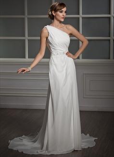 A-Line/Principessa Monospalla Coda a strascico corto Chiffona Abiti da sposa con Increspature Pizzo Perline Paillettes
