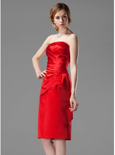 Sheath/Column Strapless Knee-Length Satin Bridesmaid Dress With Ruffle