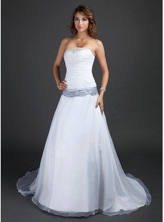 A-Line/Princess Strapless Court Train Organza Satin Wedding Dress With Ruffle Sashes Beadwork (002015380)