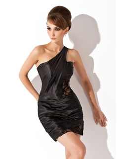 Sheath/Column One-Shoulder Short/Mini Charmeuse Cocktail Dress With Ruffle Lace