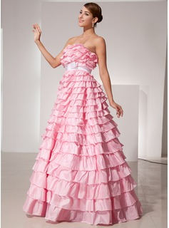 Ball-Gown Strapless Floor-Length Taffeta Prom Dress With Sash Bow(s)