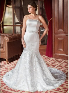 Trumpet/Mermaid Sweetheart Chapel Train Satin Lace Wedding Dress With Beading Bow(s)