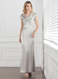 Etui-Linie Cowl Neck Knöchellang Charmeuse Kleid für die Brautmutter mit Spitze
