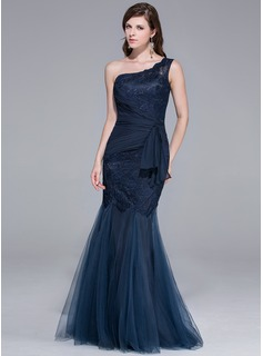 Trumpet/Mermaid One-Shoulder Floor-Length Tulle Evening Dress With Lace
