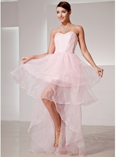 A-Line/Princess Sweetheart Asymmetrical Organza Prom Dress