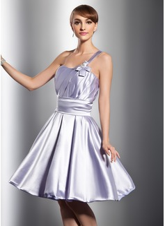 A-Line/Princess One-Shoulder Knee-Length Charmeuse Bridesmaid Dress With Ruffle