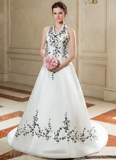 A-linjeformat Grimma Court släp Satäng Bröllopsklänning med Broderad